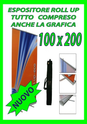 ESPOSITORE ROLL UP CM. 100X200 COMPLETO DI STAMPA
