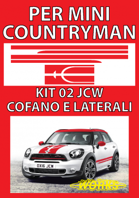 MINI COUNTRYMAN COOPER, COOPER S - ADESIVI SUPER KIT 02 JCW COFANO  + BAULE  copia