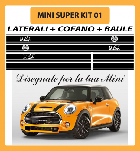 MINI ONE, COOPER, COOPER S - ADESIVI SUPER KIT 01 COFANO + LATERALI + BAULE