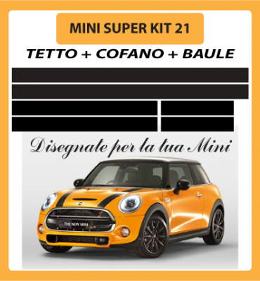 MINI ONE, COOPER, COOPER S - ADESIVI SUPER KIT 21 COFANO +TETTO + BAULE