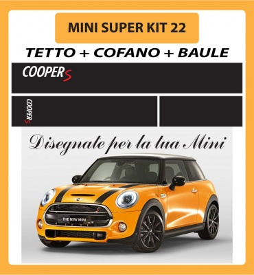 MINI ONE, COOPER, COOPER S - ADESIVI SUPER KIT 22 COFANO +TETTO + BAULE