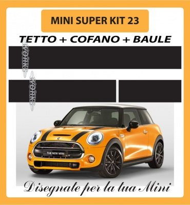 MINI ONE, COOPER, COOPER S - ADESIVI SUPER KIT 23 COFANO +TETTO + BAULE
