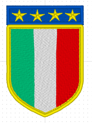 PATCH TERMOADESIVA BANDIERA ITALIANA SCUDETTO 4 STELLE